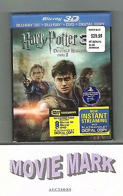 HARRY POTTER AND THE DEATHLY HALLOWS PART 2 Warner 4 Disc: Blu-ray 3D/2D DVD NEW