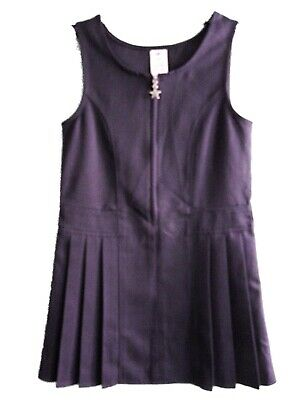 NEW GIRLS EX STORE NAVY BLUE PLEATED SCHOOL PINAFORE TUNIC Age 4-12 STAR ZIP