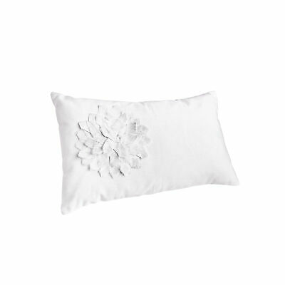 Rectangular cushion cotton with applied flowers - 001258