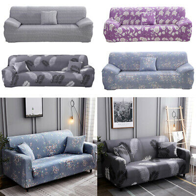 1/2/3/4 Seater Floral Stretch Sofa Covers Protector Couch/Pillow Cover Slipcover