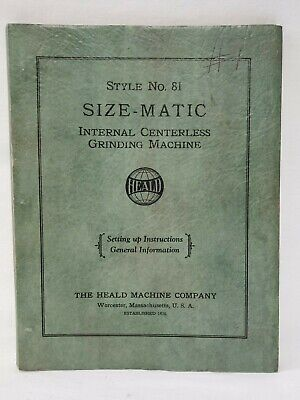 Heald No. 81 Gage-Matic Internal Centerless Grinding Machine Manual