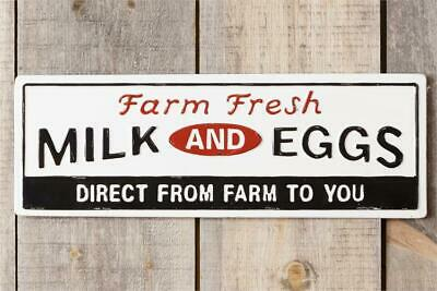 New Farmhouse White Red Black DAIRY FRESH MILK EGGS SIGN Enamel Wall Hanging 26""