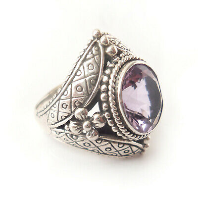 US-AMY-009 Amethyst Ring 925 solid sterling silver handmade Bijoux