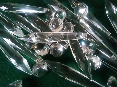 17 x Antique / Vintage Glass Crystal Lustre Drops for spares repairs replacement