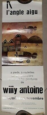 affiche exposition willy antoine 1974 20 sur 55cm