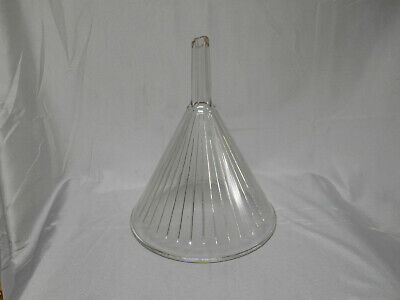 "Vintage ribbed clear glass 9"" funnel"