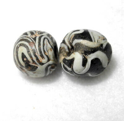 2 ANCIENT FOLDED GLASS BEADS - 1000 yrs old - EGYPTIAN to WEST ASIA ISLAMIC era