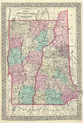 1877 Mitchell Map  of Vermont and New Hampshire