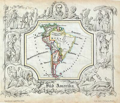 1846 Lowenberg Whimsical Map of South America