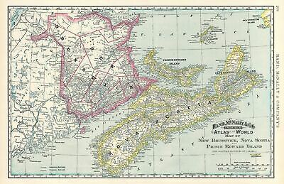 1892 Rand McNally Map of Canadian Maritime Provinces