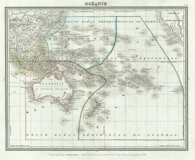 1874 Tardieu Map of Australia and the Pacific Ocean