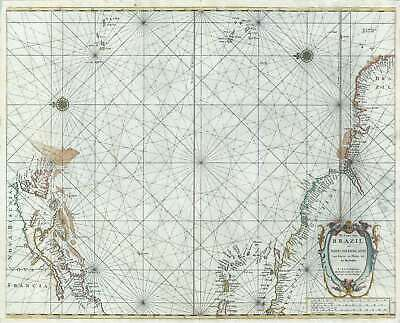 1668 Doncker Map of the Atlantic, with early Dutch New York (New Amsterdam)
