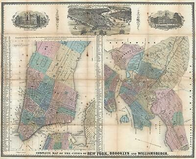 1852 Magnus Map of New York City and Brooklyn