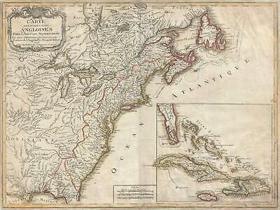 1777 J. Leopold Imbert Revolutionary War Map of the English Colonies