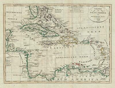 1822 Franz Pluth Map of the West Indies