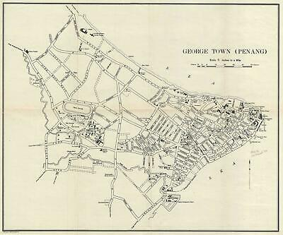 1933 Printers Limited Map of George Town, Penang, Malaysia