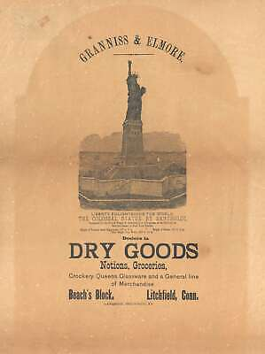 1885 Pre-Construction Broadsheet View of the Statue of Liberty