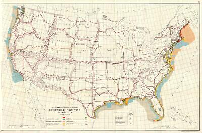 1926 U.S. Coast and Geodetic Survey Map of Field Work in the United States