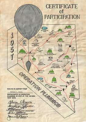 1957 Operation Plumbbob Nevada Atomic Test Map and Certificate