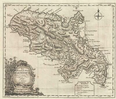 1765 Tirion Map of Martinique