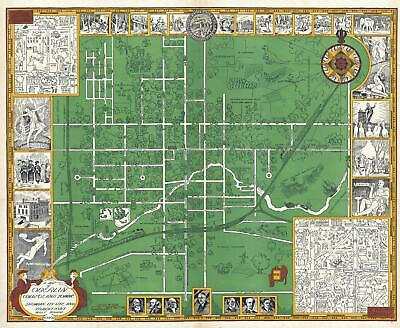 1929 Knapp Pictorial Map of Oberlin, Ohio and Oberlin College