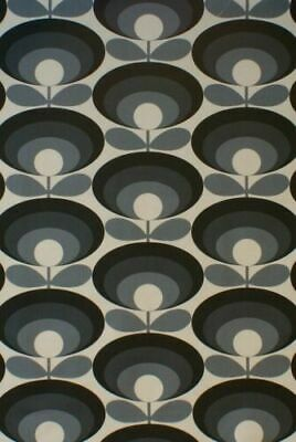 Designer Orla Kiely Seventies Flower Cool Grey Cotton Curtain Upholstery Fabric