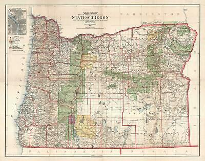 1906 Bond and General Land Office Map of Oregon
