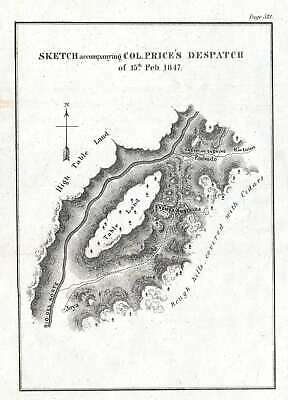 1847 Emory Map of Battle of Embudo Pass, New Mexico during the Taos Revolt
