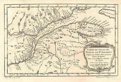 1757 Bellin Map of St. Lawrence River, Quebec, Canada