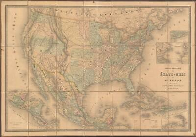 1862 Andriveau-Goujon and Vuillemin Map of the United States and Mexico