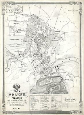 1847 Kocziczka City Map or Plan of Krakow, Poland