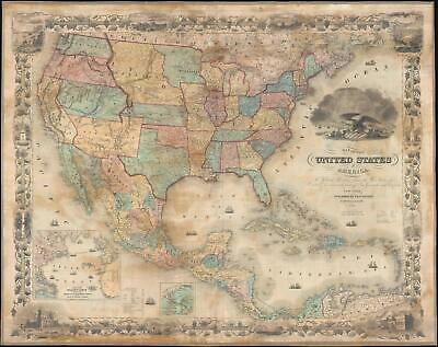 1855 Colton Wall Map of the United States