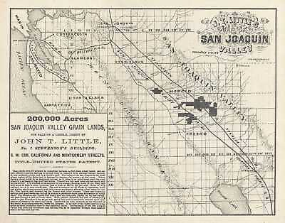 1871 Little Map of Land for Sale in the San Joaquin Valley, California