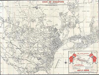 1975 Tien Wah / Air India Promotional Map of Singapore City
