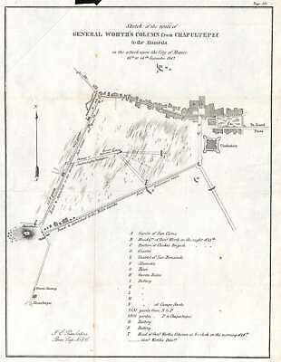 1847 Pemberton Map of the Battle of Mexico City during the Mexican-American War