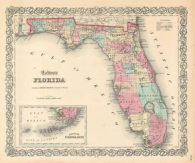 1859 Johnson edition of Colton Map of Florida (First Edition Johnson Map)