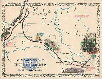 1945 Kalihan and White Pictorial WWII Route Map of the 79th Inf. in France