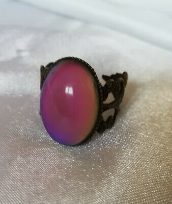 OVAL BRASS MOOD RING - cosmetic flaw - Adult Adjustable - Bronze Coloured