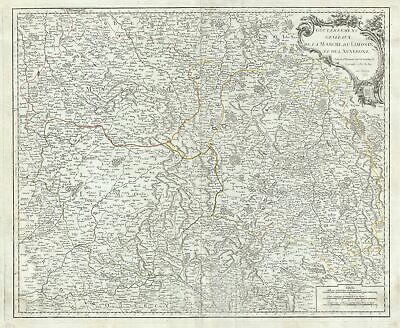 1753 Vaugondy Map of the Limousin, Marche and Auvergne Regions in France