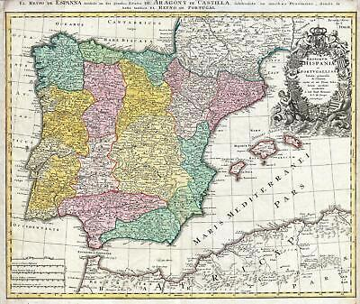 1730 Homann Map of Spain and Portugal