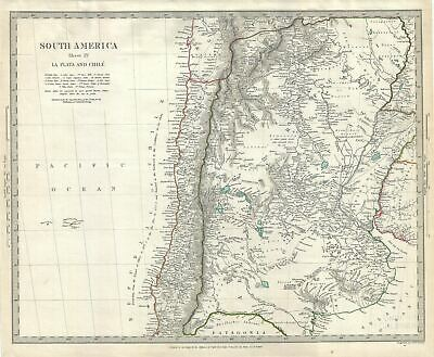1840 S.D.U.K. Map of Chile and Argentina