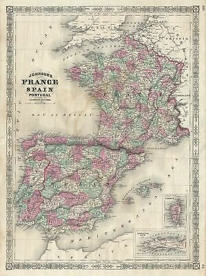 1866 Johnson Map of France, Spain and Portugal