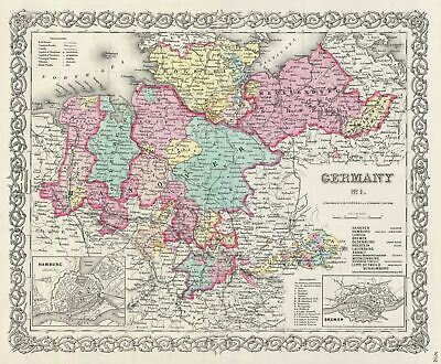 1856 Colton Map of Northern Germany: Hanover and Holstein