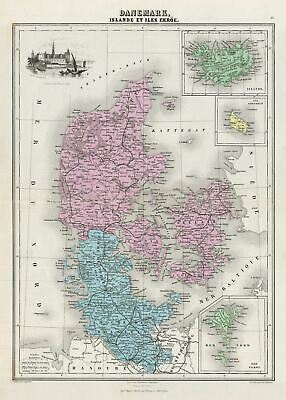 1878 Migeon Map of Denmark, Iceland and the Faroe Islands