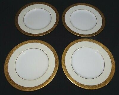 """Mintons England for Tiffany & Co Imperial Set of 4 Bread Plates Gold Band 6 1/8"""""""