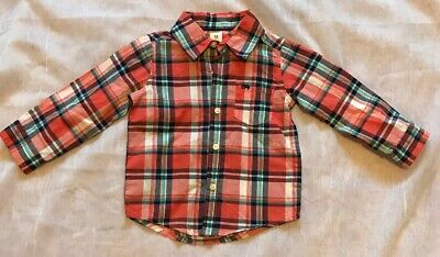 Carters Baby Boy Button Down Dress Shirt Orange Blue White Plaid 18 Months NWOT