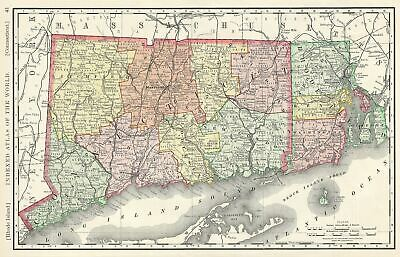 1888 Rand McNally Map of Connecticut and Rhode Island, United States