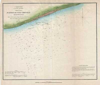 1851 U.S. Coast Survey Map or Chart of Pass Christian, Mississippi