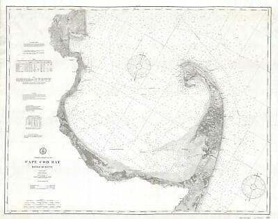 1906 U.S. Coast Survey Nautical Chart or Map of Cape Cod, Massachusetts