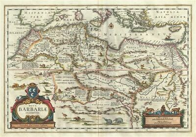 1640 Blaeu Map of the Maghreb or Barbary Coast, Northern Africa